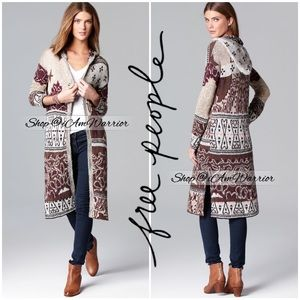 Free People print hooded duster cardigan sweater